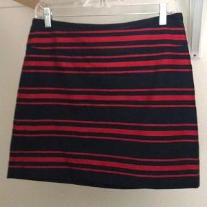 Navy Blue and Res stripe Loft skirt